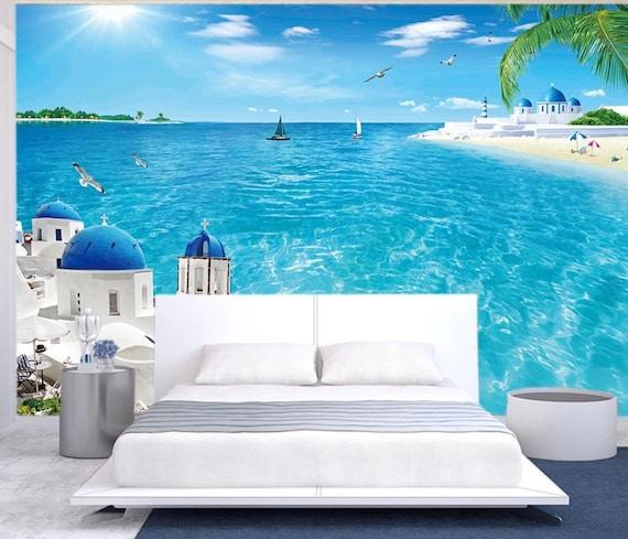 3d Ocean With Beach N35 Removable Wallpaper Self Adhesive Wallpaper Extra Large Peel Stick Wallpaper Wallpaper Mural Aj Wallpapers