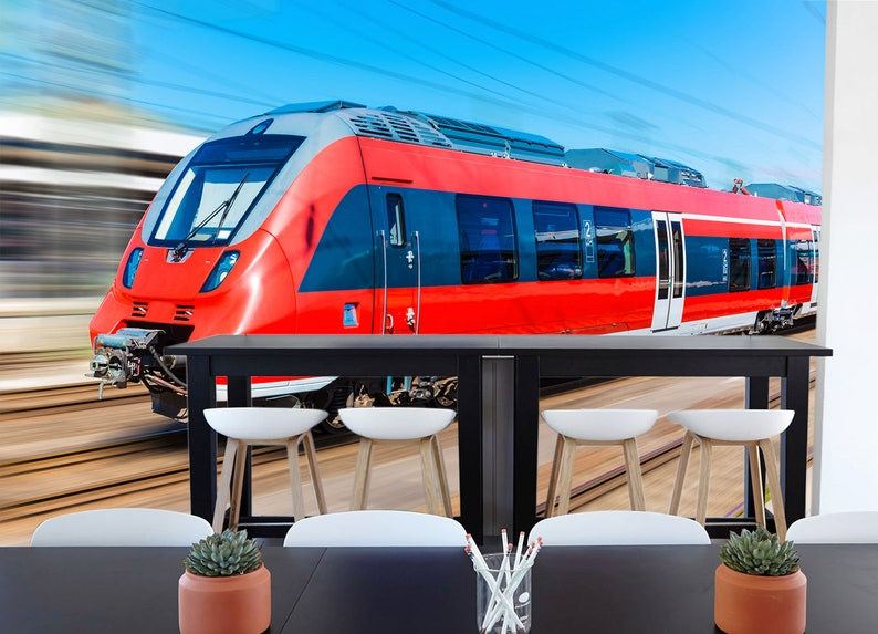 3D Light Rail Train A1638 Removable Wallpaper Self Adhesive Wallpaper Extra Large Peel /& Stick Wallpaper Wallpaper Mural AJ WALLPAPERS