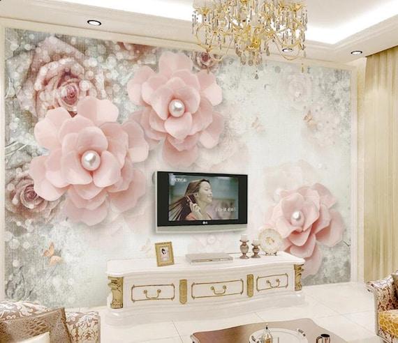 3D Pink Flowers F89 Removable Wallpaper Self Adhesive Wallpaper Extra Large Peel /& Stick Wallpaper Wallpaper Mural AJ WALLPAPERS