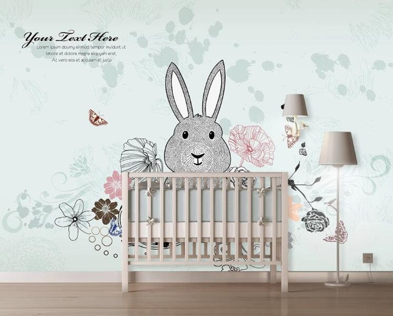 3D Rabbits With Flowers F32 Removable Wallpaper Self Adhesive Wallpaper Extra Large Peel /& Stick Wallpaper Wallpaper Mural AJ WALLPAPERS