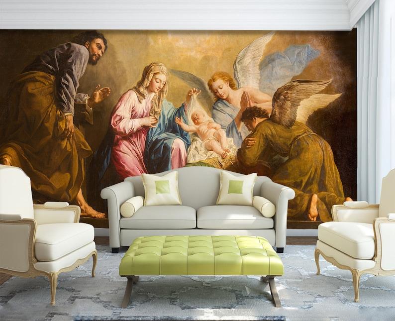 3D Jesus Birth A91 Removable Wallpaper Self Adhesive Wallpaper Extra Large Peel /& Stick Wallpaper Wallpaper Mural AJ WALLPAPERS