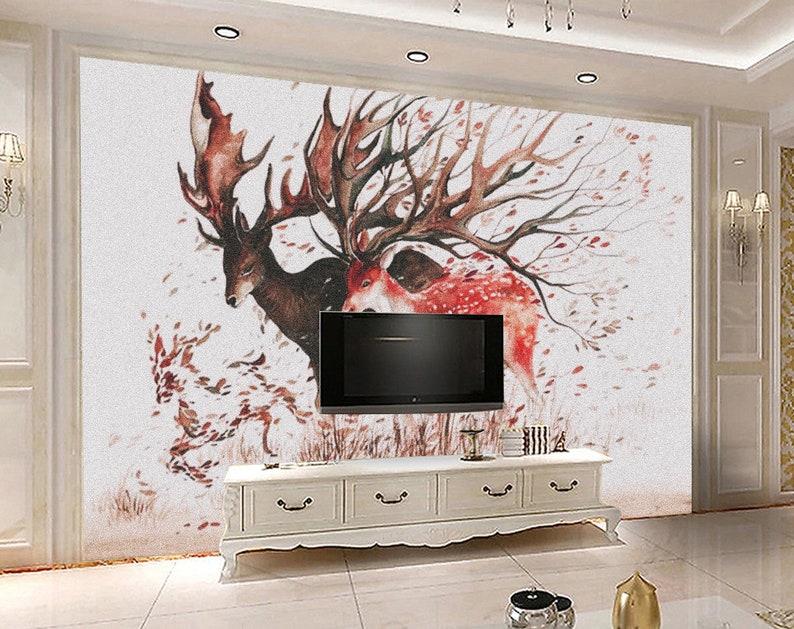 3D Deer E121 Removable Wallpaper Self Adhesive Wallpaper Extra Large Peel /& Stick Wallpaper Wallpaper Mural AJ WALLPAPERS