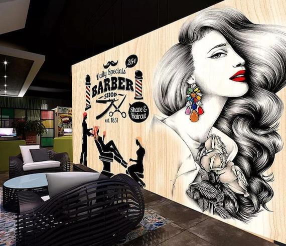 3d Barber Fashion Salon Woman868removable Wallpaper Self Etsy