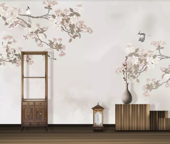 3D Pink Flower And Bird CA446 Ceiling Wallpaper Removable Self Adhesive Wallpaper Large Peel /& Stick Wallpaper Wallpaper Mural AJ WALLPAPERS