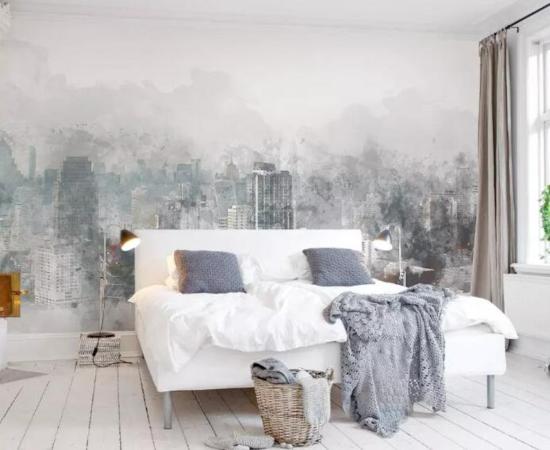 3D Cloudy City Buildings F86 Removable Wallpaper Self Adhesive Wallpaper Extra Large Peel /& Stick Wallpaper Wallpaper Mural AJ WALLPAPERS