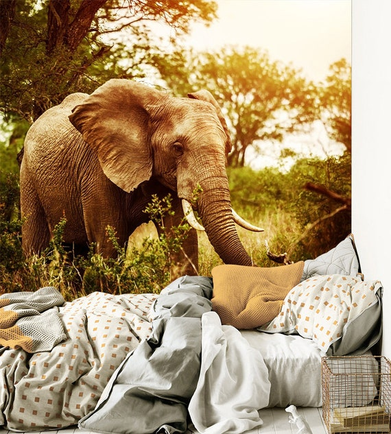 3d Wild Elephant In The Woods727removable Wallpaper Self Etsy