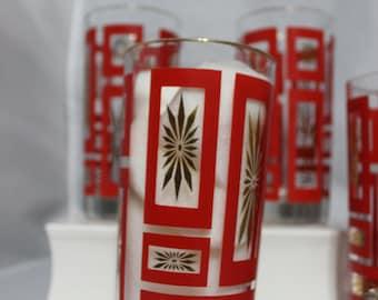 Set of 4 Mid Century Modern glasbake atomic starburst RED/Gold glasses