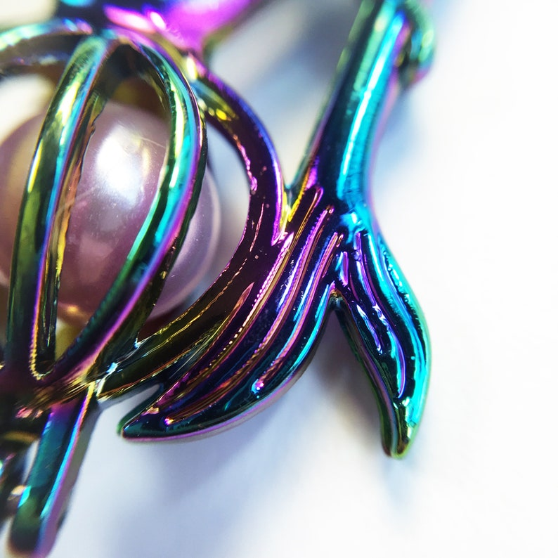 Rainbow Mermaid Pearl Cage with mount necklace bracelet earrings key chain zipper pull gift present pick an oyster anidized titanium