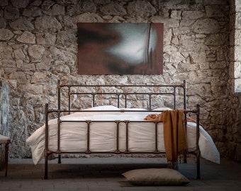 Industrial Handmade iron bed of blacksmith style - model Armonia