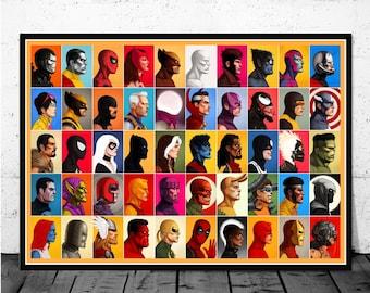 Marvel poster | Etsy