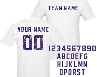 c7a51e98bb0 Custom White Jersey Tshirt, personalized Any Name Number Soccer shirt,  Custom sport Soccer Jersey,Custom any Team american football T Shirt