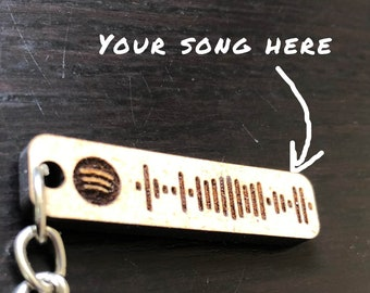 Keychain customizable spotify code to laser cutting, music, romantic, wedding, couple