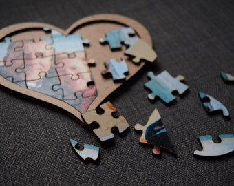 Customizable heart photo puzzle, gift, Valentine's Day, Father's Day, Mother's Day, headache
