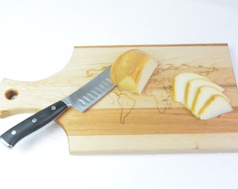 Customizable cutting board, world map, Russian cherry tree, laser engraved, cooking, friends, family, cheese, sausage, vegetables