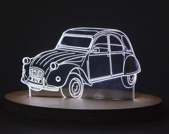 Lamp lED cars and motorcycle, fiat 600, 2cv, bmw, white light, office decoration, recharging, support