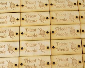 Custom wood labels, customizable, sewing, knitting, crochet, identification, logo, craftsmen, mesage, laser engraving,