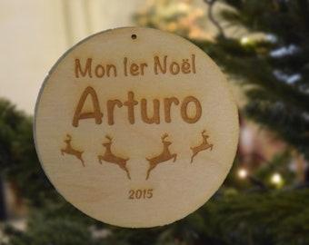 Customizable Christmas ornament, my first christmas, christmas ball, prenopm, child, family, laser engraving