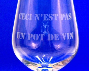 Red wine glass engraved, This is not a bribe, gift, feast, personalized, laser engraved text, joke, corruption, government