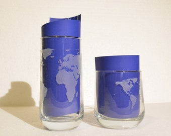 World Map glass, travel, laser engraving, road trip, adventure, world tour, glassware, continent, customizable, traveler, backpack