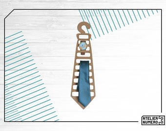 Hangs tie watches and wooden bow ties