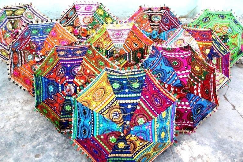 5 PC Indian Decorative Wedding Umbrella Women Sun Protection Parasols Sunshade Sunshade Brolly Canopy Umbrellas Embroidered Work Handmade
