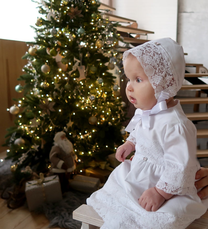 Cotton Fabric and Lace Blessing Baby Hat for a Girl Collection Set A2503 Christening Bonnet White Color Sunbonnet for Baptism