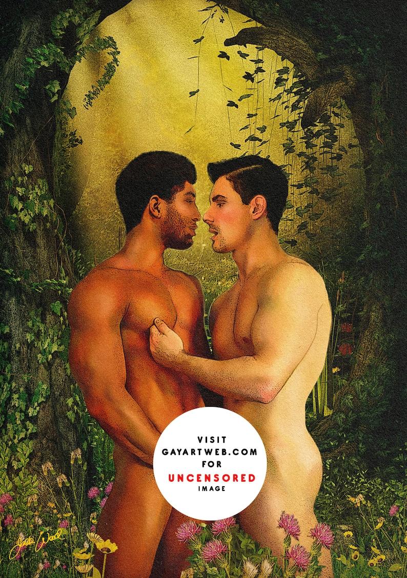 Garden Kiss  Erotic Gay Male Nude Art image 0