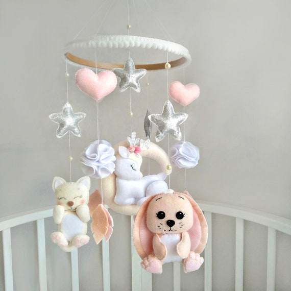 Baby girl Crib music Mobile pink lilac felt unicorn mother/'s love cat bear on moon swan newborn babyshower gift unicorn nursery room decor