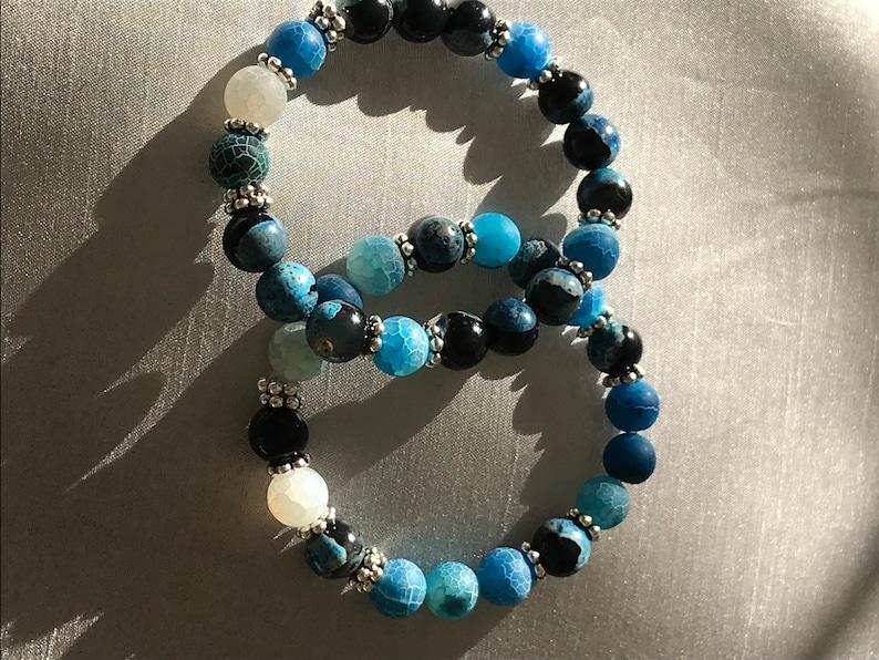 Blue Agate Crackle Bracelet Bracelet Set Agate Crackle Bracelet 10mm Bracelet Silver Tone Bracelet Aqua Agate Bracelet