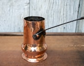Antique Copper Chocolate Pot 18th Century French Copperware Hand Forged Cast Iron Handle Chocolatière Old Copper Cookware