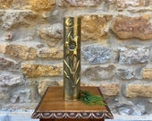 WW1 Artillery Shell converted into Brass Vase Trench Art 1914 1918, French cannon shell from battle in Champagne France