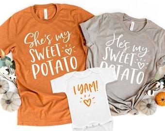 Mom Dad Baby Shirts - Funny Thanksgiving Shirts - Family Fall Shirts - Fall Matching Shirts - Pregnancy Reveal - Sweet Potato Shirt