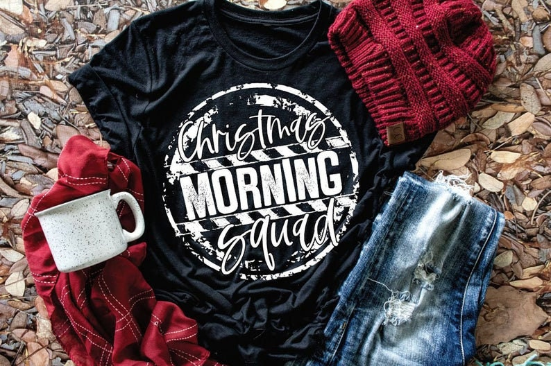 Cute Christmas Shirt Cute Mom Shirt Holiday Tee Christmas Morning Squad Christmas Graphic Tee Mom Christmas Shirt