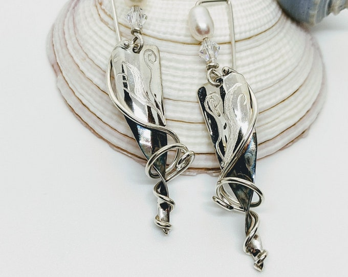 One of a Kind Sterling Earrings with Freshwater Pearl!