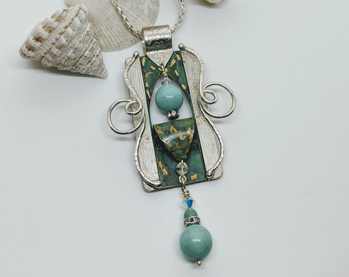 """Green Patina with Chinese Turquoise on a 24"""" Sterling Chain!"""