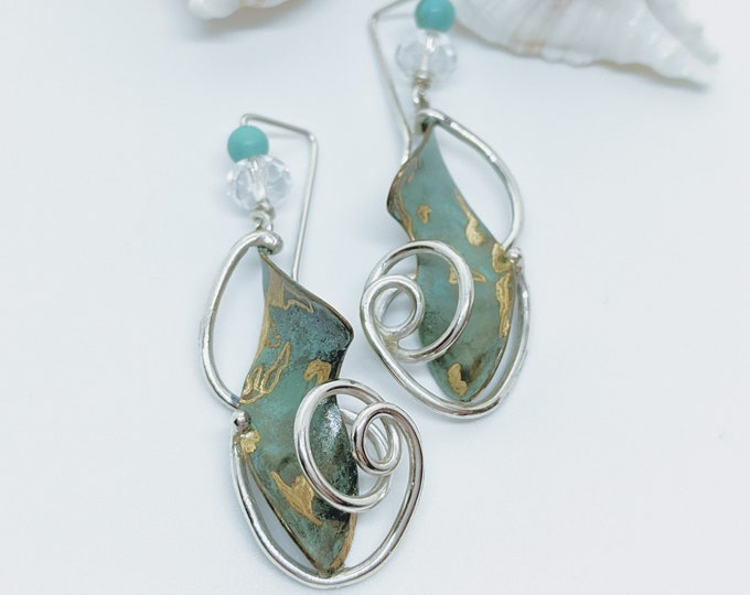 Sterling and Green Bronze Earrings!