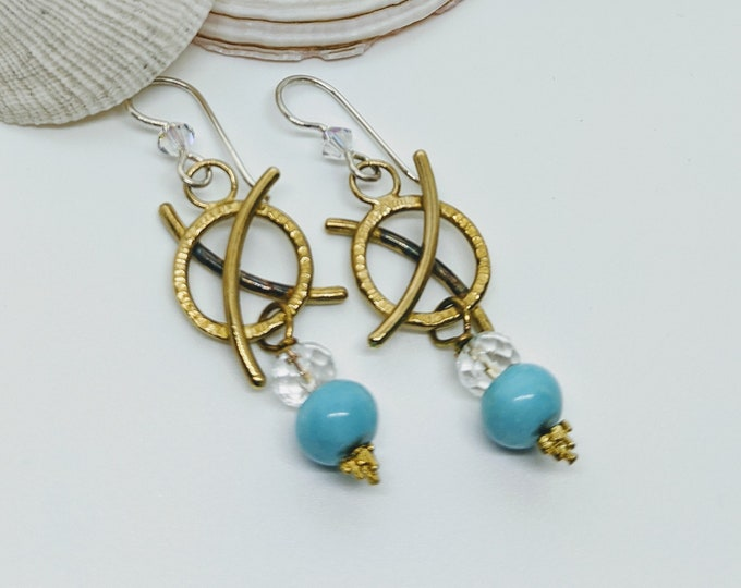 Hug and Kiss Earrings with Turquoise and Quartz Crystal!