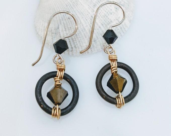 Steel and Gold/Black Crystal Earrings!