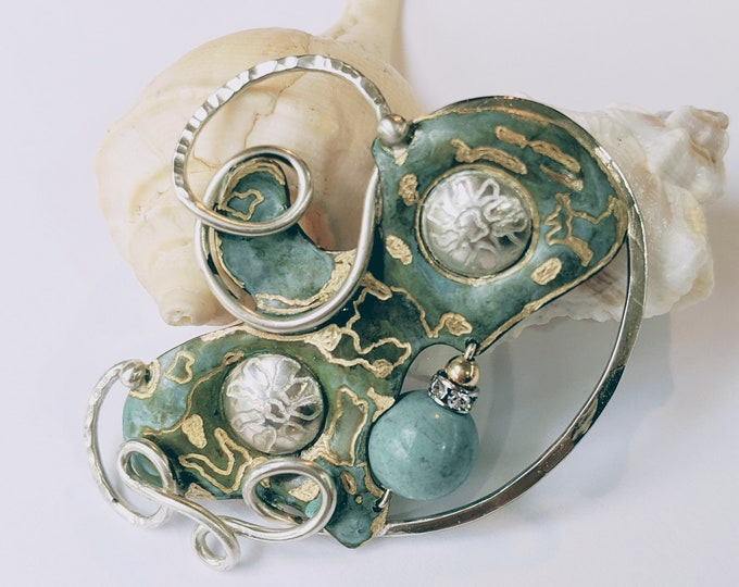 Green Patina Bronze with Chinese Turquoise Brooch!