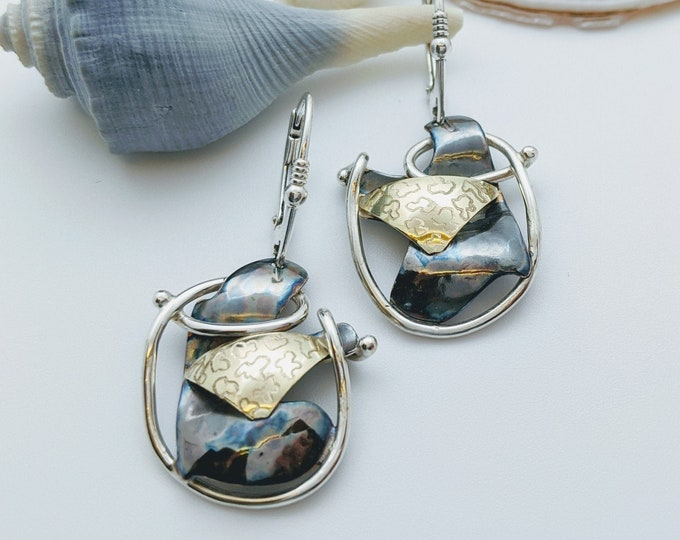 Oxidized Sterling Earrings with 18kt Bimetal Accent!