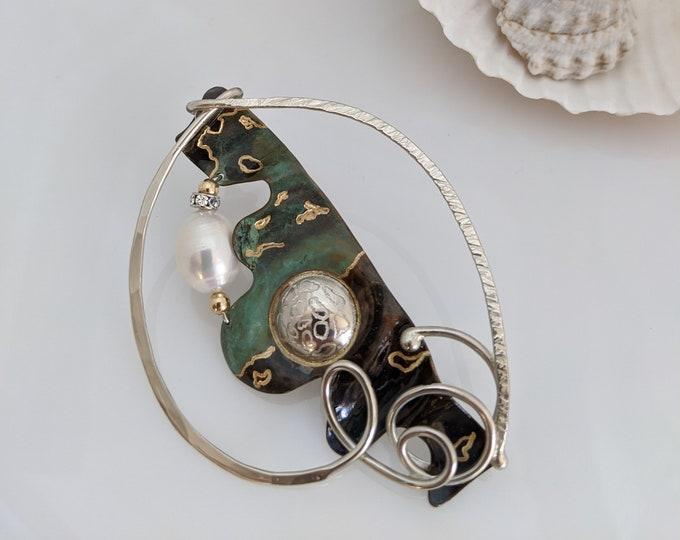 Sterling/Bronze Pearl Pin with Green and Black Patina!