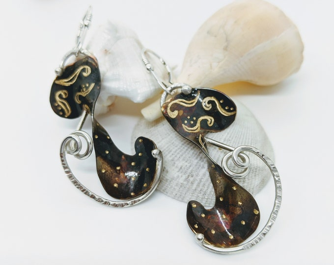 Bronze with Hand Engraved Designs and Sterling Accent!