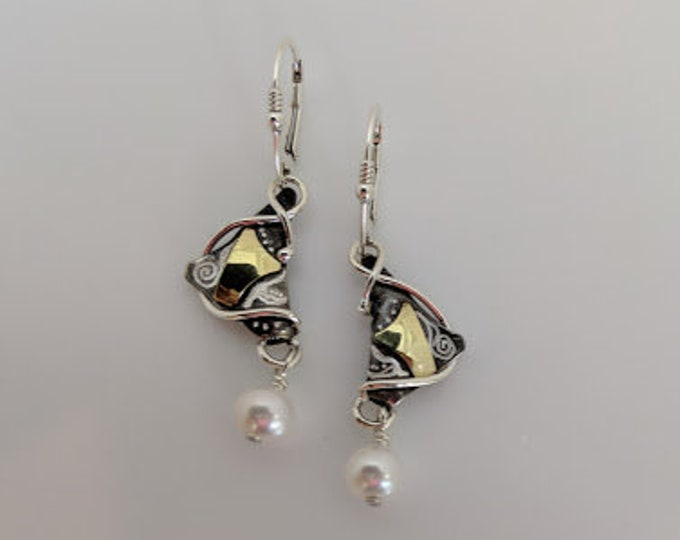One of a Kind Sterling, Fine Silver and 18kt Bimetal Earrings with Lever Backs!