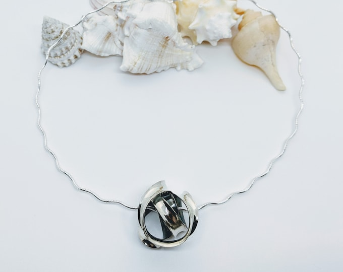 Sterling Tangle Pendant on a Wavy Omega Chain!