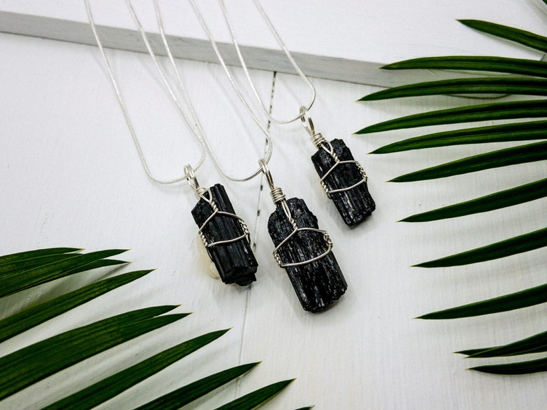 Raw Wire Wrapped Dark Crystal Empath protection pendant Birthstone Unique Gift Amulet Black Tourmaline Necklace Schorl