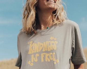 kindness is free tee. boho tee. cute graphic tee. happy clothing.