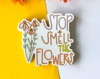stop + smell the flowers sticker, hippie sticker, 70's sticker, retro sticker.