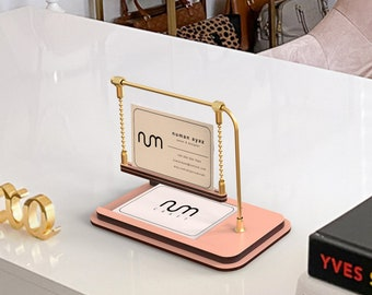 Rose Gold Business Card Stand, Business Card Holder for Desk, Business Card Display