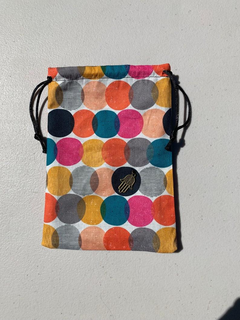 Party Bag Polka Dot Gift Bag 100/% Cotton Reversable Handmade 5X7 Black Cotton Lined Favor Bag