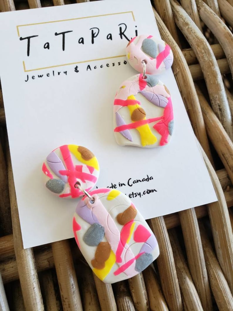 gift idea for her statement earring clay jewelry unique dangle earrings colorful dangle earrings Handmade polymer clay fun pink dangles